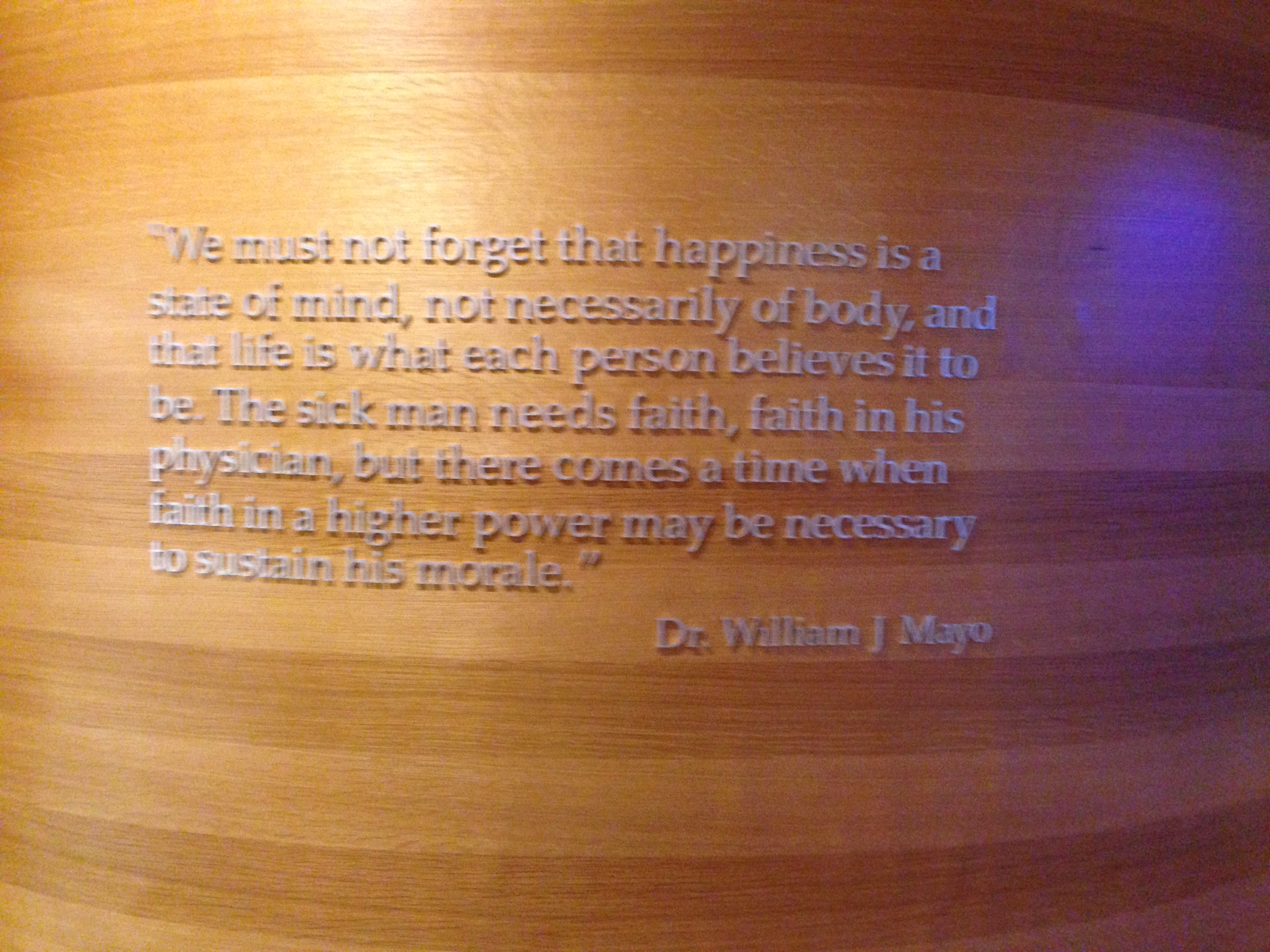 Quote from Dr. William Mayo, who opened a medical practice that evolved under his sons into Mayo Clinic.