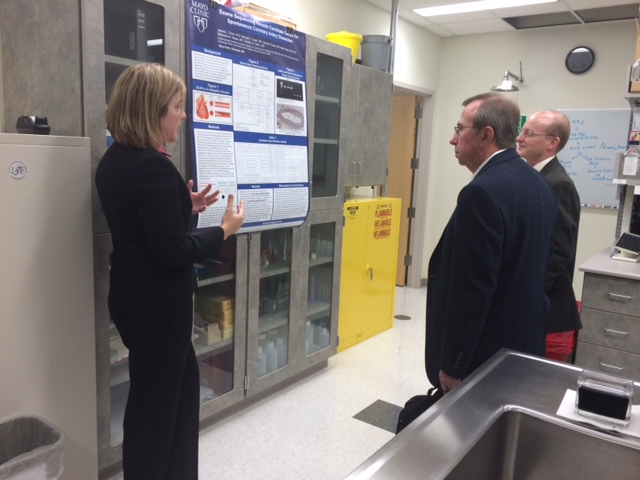 A member of the SCAD genetic research team explains a poster that they will be displaying at an American Heart Association annual meeting. The chart includes discoveries that the research team has been able to verify to this point.